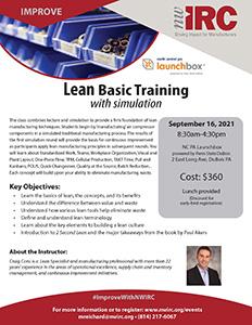 Flyer for NWIRC Lean Basic Training workshop